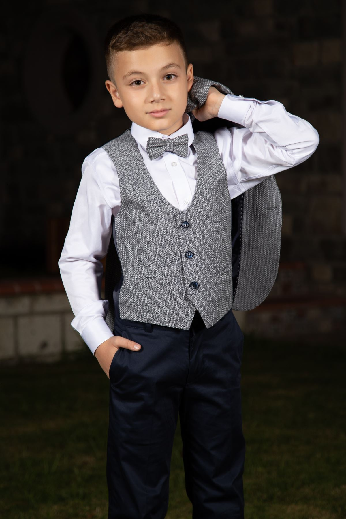 Knitted Fabric, Pocket Flap, Mono Collar, Full Set Boy Suit 148 Navy