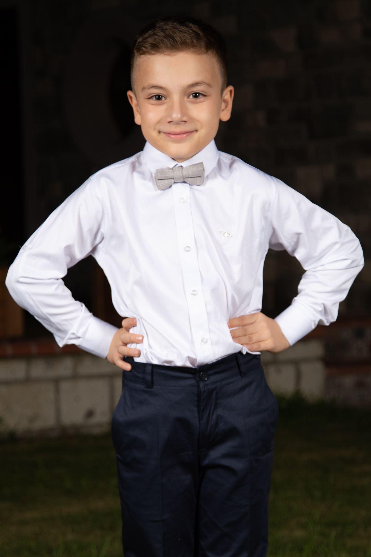 Normaler Hals, Baumwollsatin, Rosette detailliert, Boy Shirt 1007 Weiß