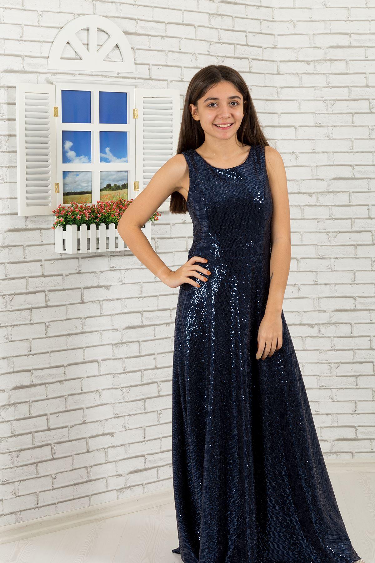 Pullu kumaş Kız Çocuk Abiye Elbise 477 Lacivert