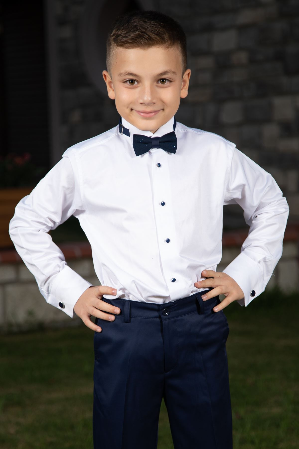 Silvery Fabric, Removable Shawl Collar, Full Set 4 Pieces Boy Special Suit 181 Navy Blue