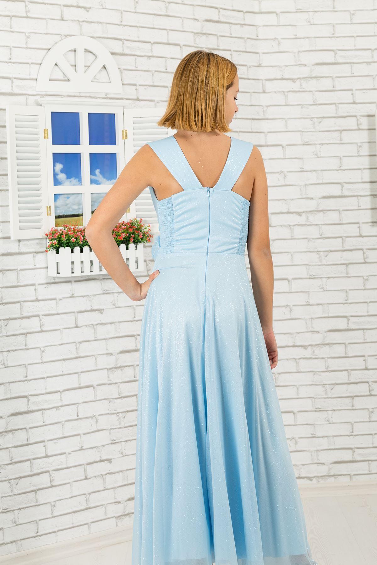 Tessuto chiffon argenteo, scollo a V Vestito Da Sera dettagliato della ragazza 470 Azzurro