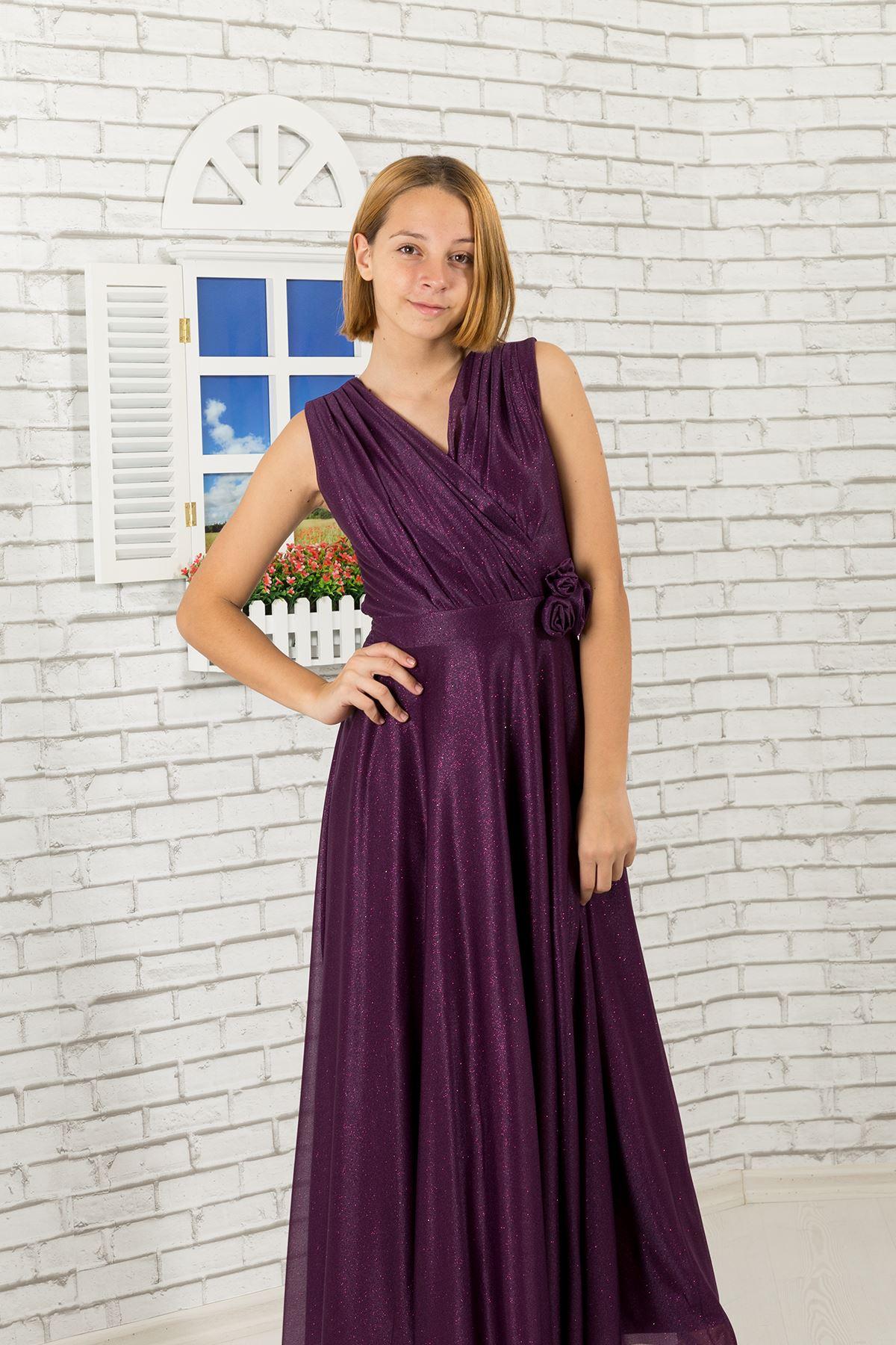 Simli şifon kumaş, v yaka detaylı Kız Çocuk Abiye Elbise 470 Mor