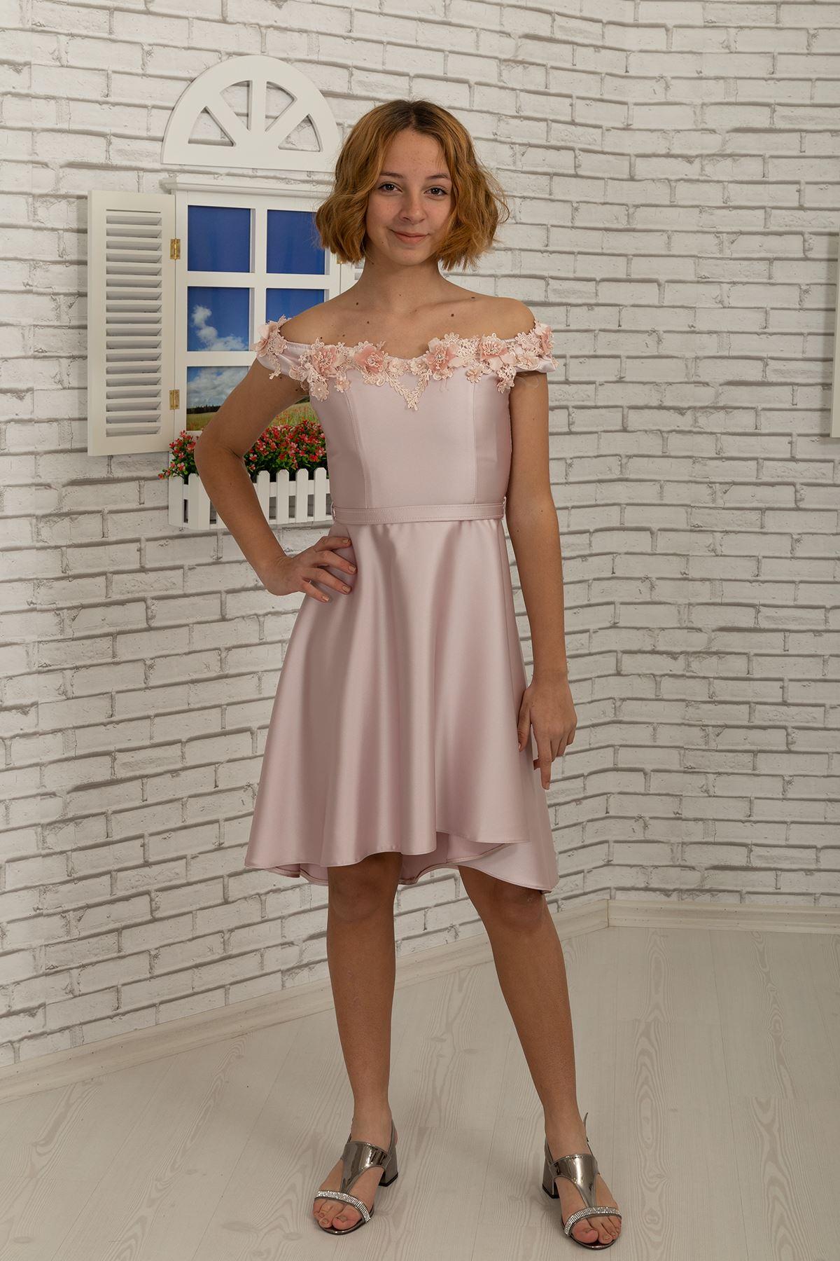 3D floral satin Stoff mit einem drop Ausschnitt auf der Schulter Mädchen Kleid 484 Pulver