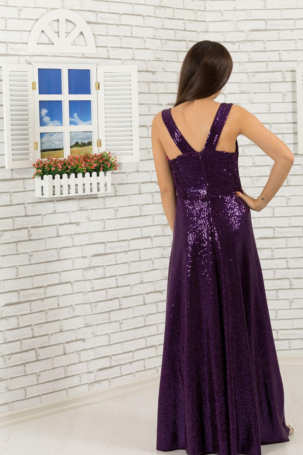 Sequin Tissu Fille Robe 477 Violet
