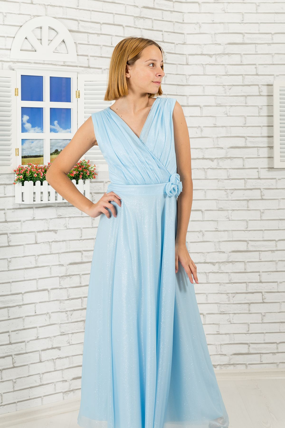 Silvery chiffon fabric, v-neck detailed Girl Evening Dress 470 Light Blue