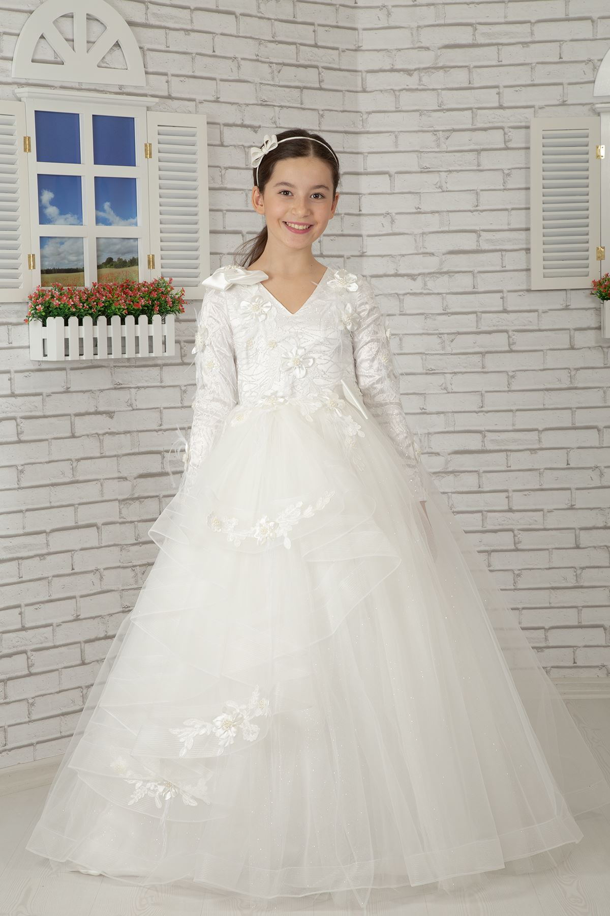 긴팔, 어깨 디테일 푹신한 소녀의 이브닝 드레스 605 크림