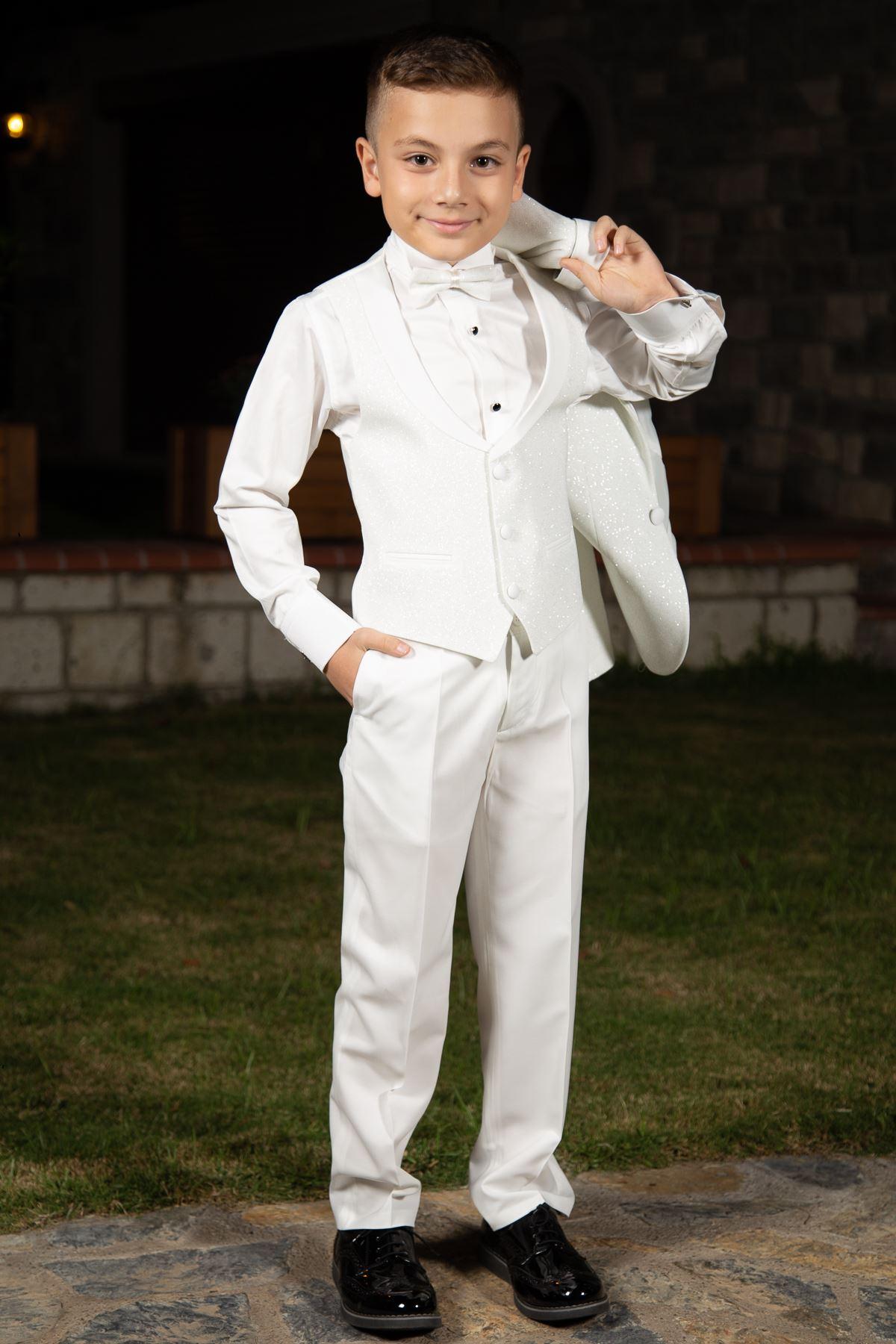 Ασημένιο Ύφασμα Αποσπώμενα Σάλι Κολάρο Σύνολο 4 Κομμάτια Αγόρι Ειδικό Κοστούμι 181 Ελεφαντόδοντο