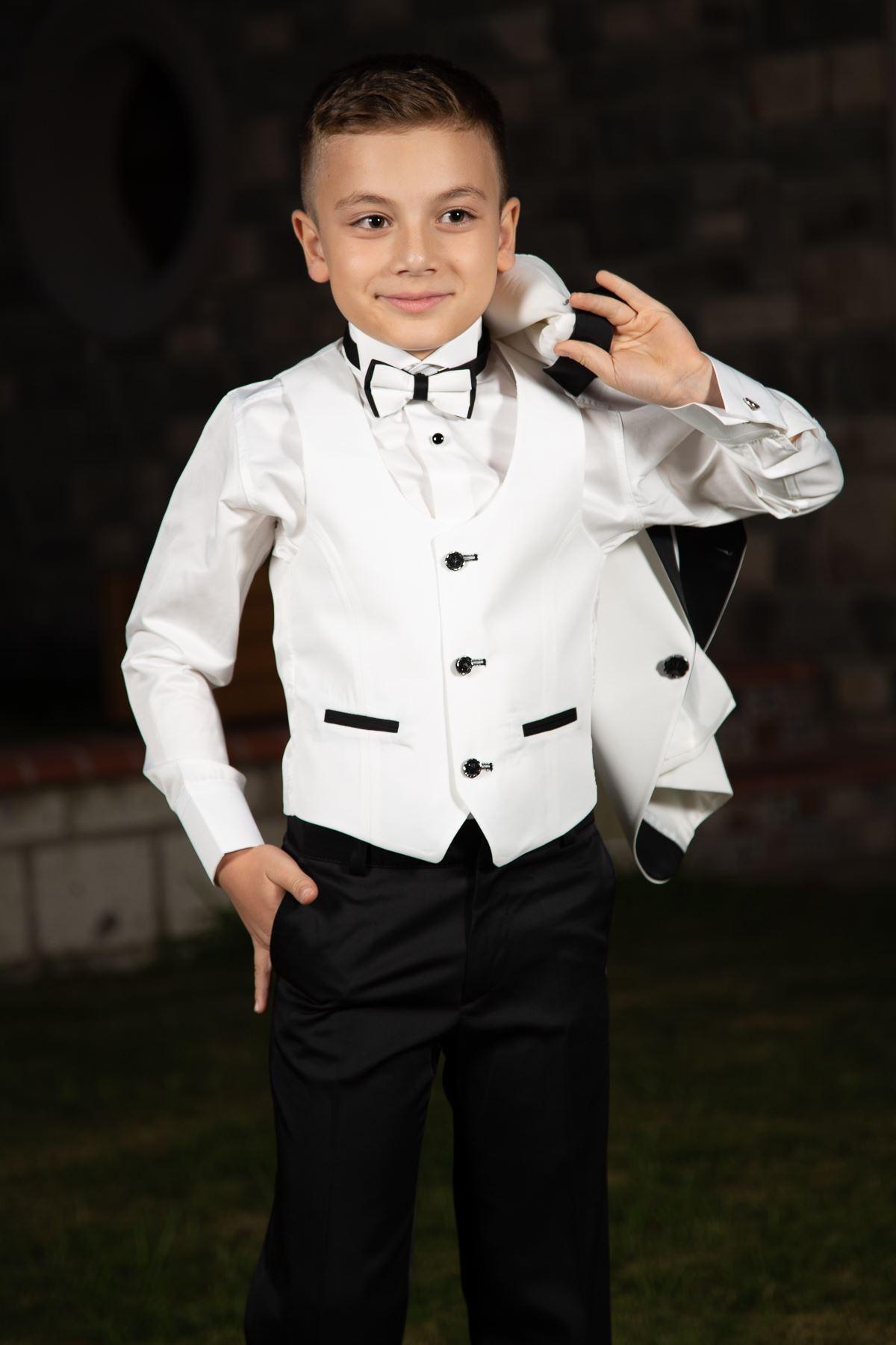 ياقة شال ، زر واحد ، مجموعة كاملة من 4 قطع بدلة صبي خاصة 86 عاجي