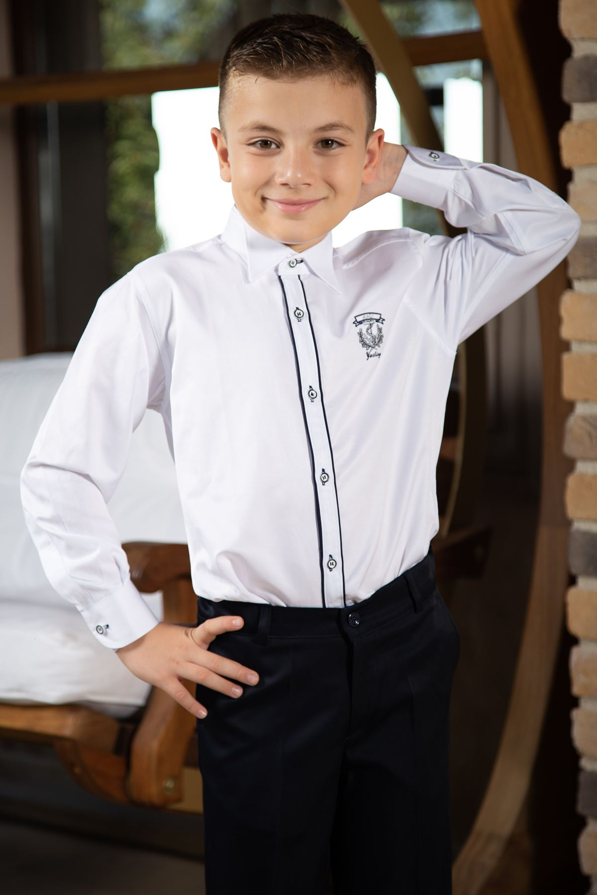 Horse collar, double navy tie, embroidery detail, Boys ' shirt 1006 White