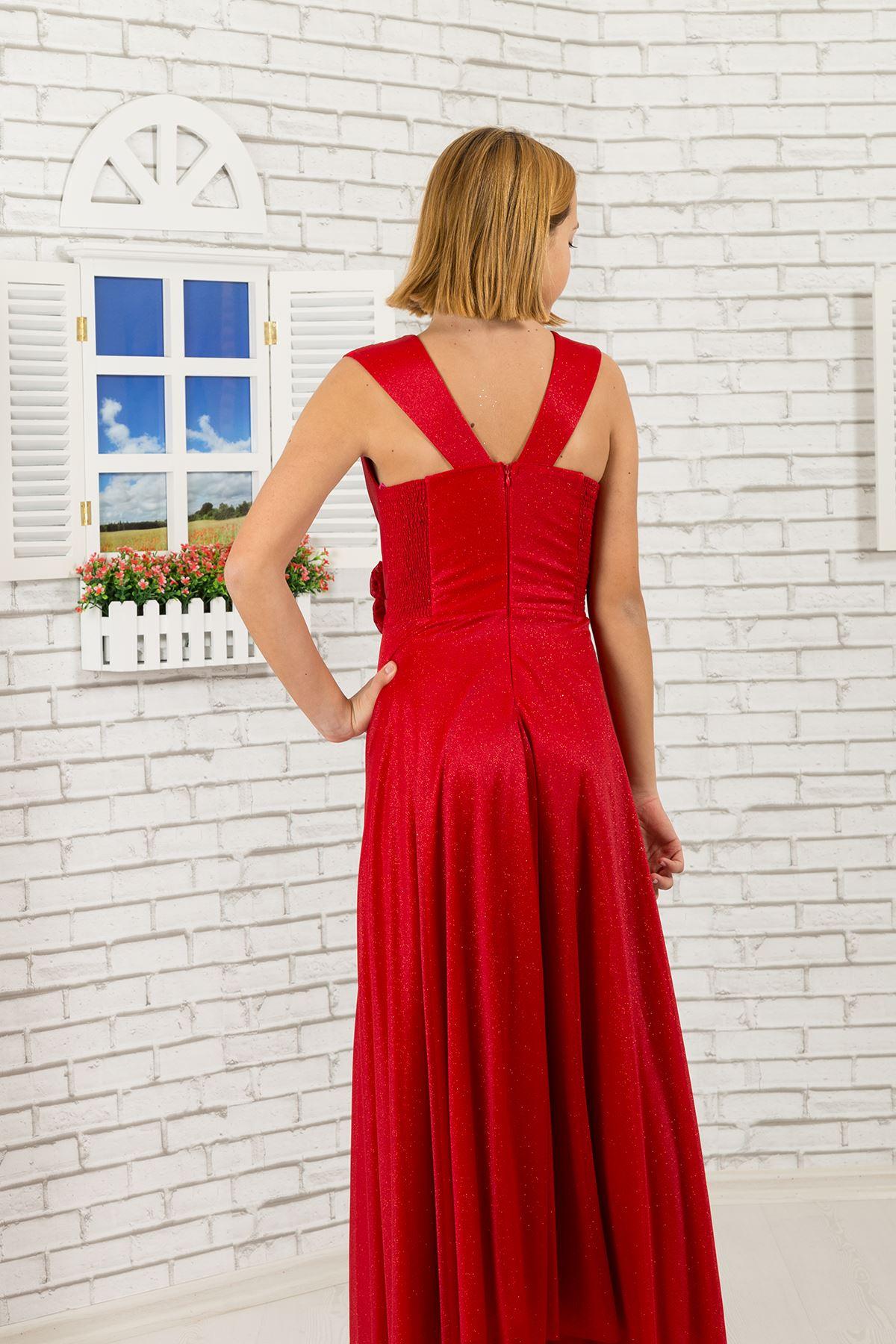 Silwerige chiffon materiaal, v-nek detail Meisie in die Aand Rok 470 Red