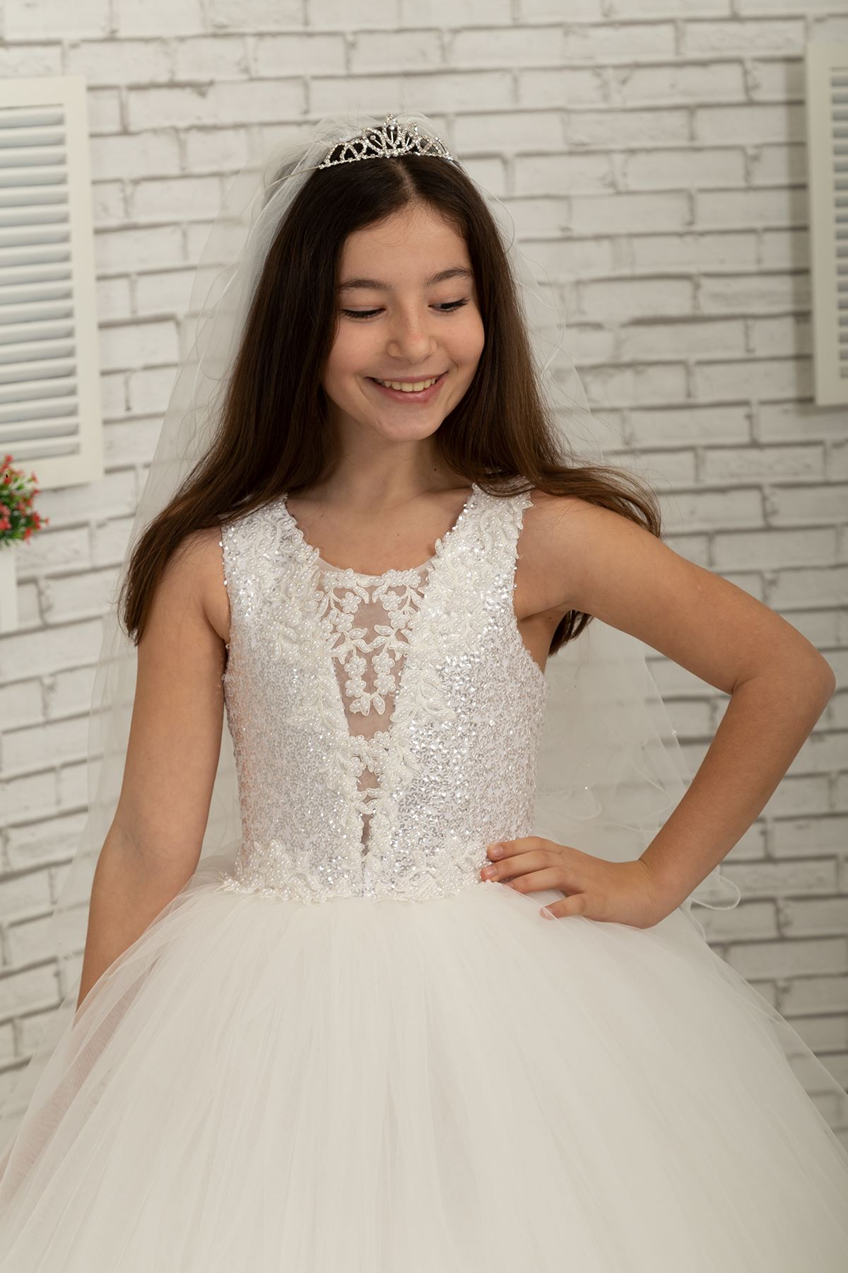 Special sequin body detail, hemline detail Fluffy Girl Child Evening Dress 618 Cream