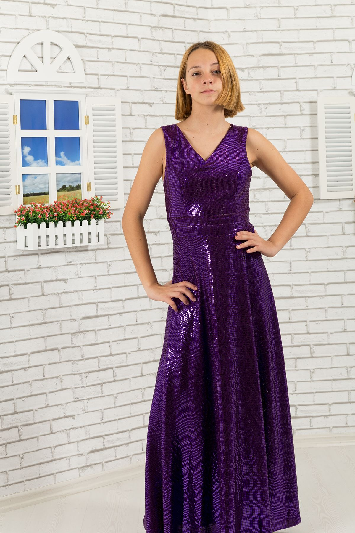 Sequin fabric, v-neck Girl Evening Dress 475 Purple