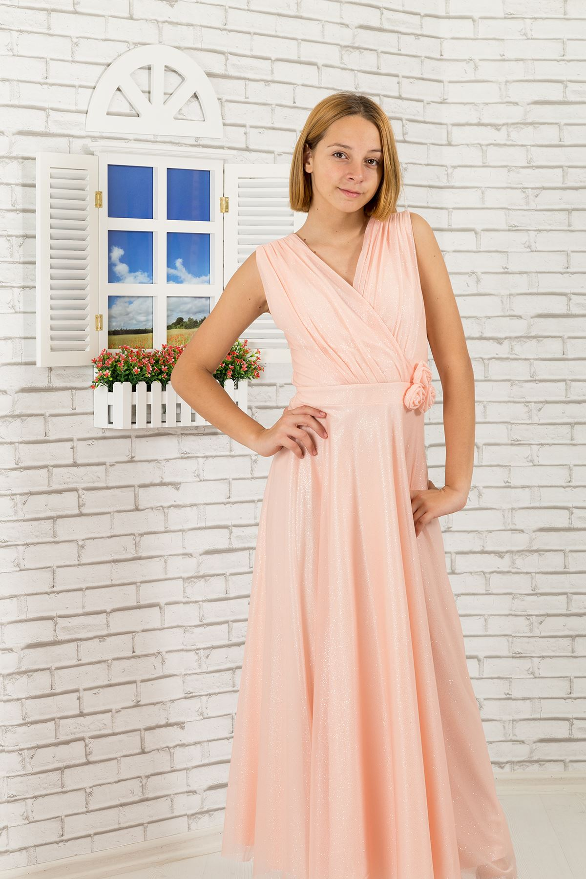 Silvery chiffon fabric, v-neck detailed Girl Evening Dress 470 Salmon