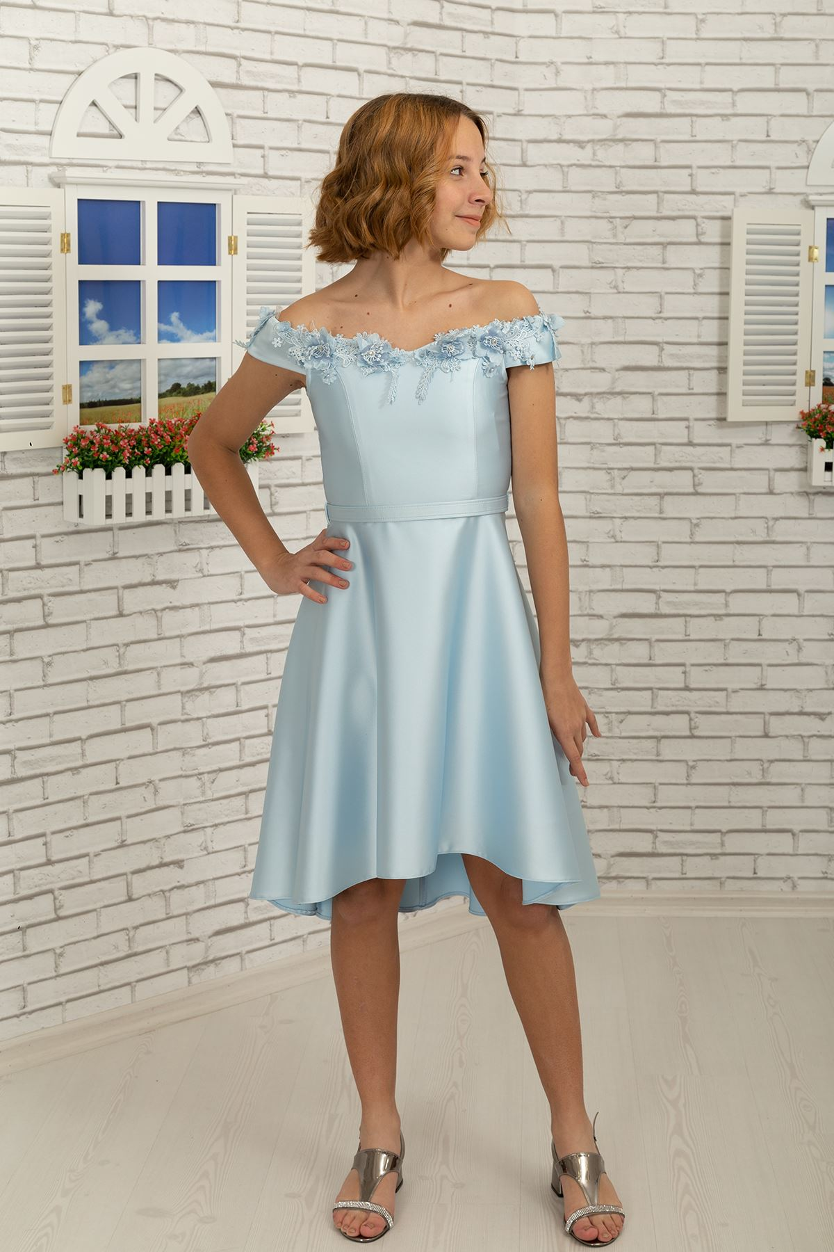 Falling on the Shoulder coller detail, 3 dimentional flower, Satin Girl Evening Dress 484 Light Blue