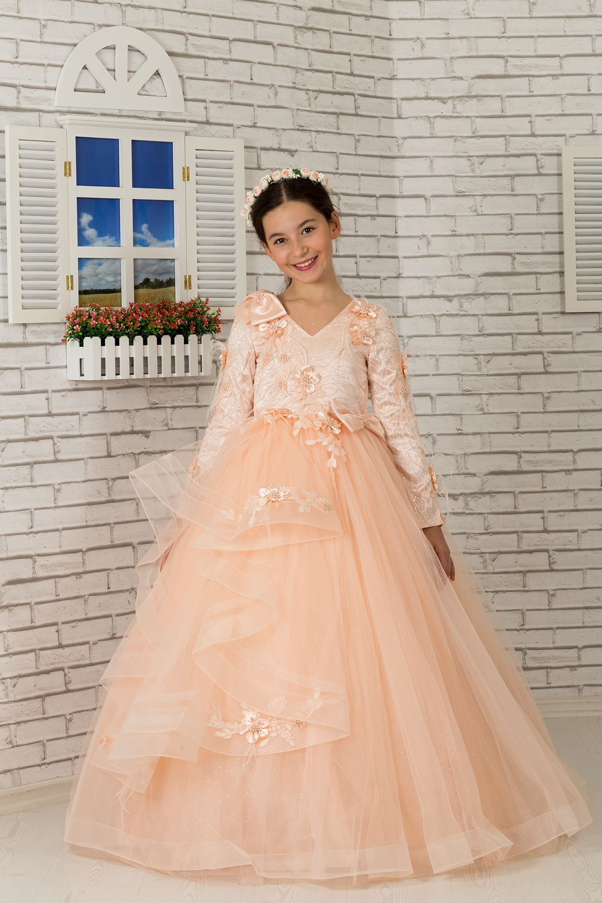 Long Sleeve, Shoulder Detail Fluffy Girl's Evening Dress 605 Salmon