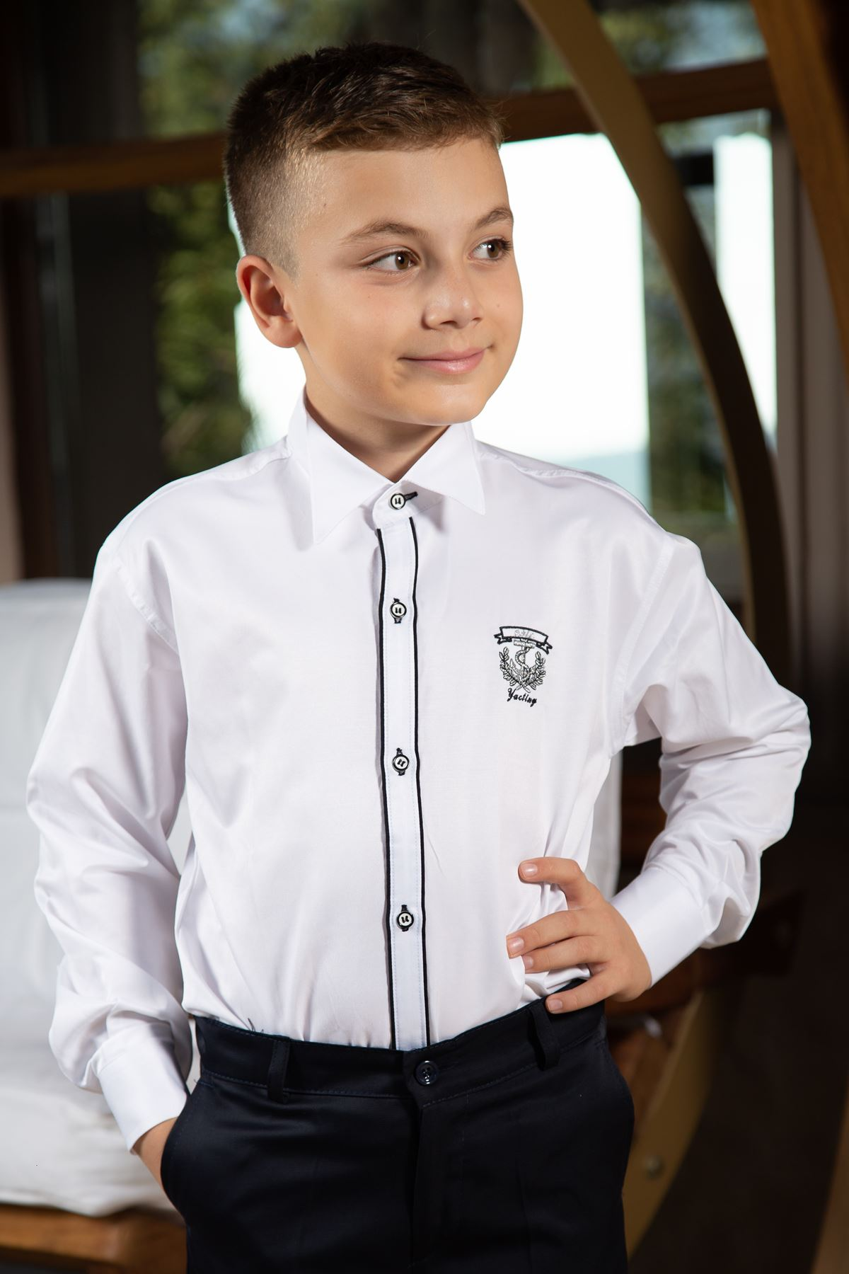 Ankle collar, double black piping, embroidery detail, Boy Shirt 1005 White