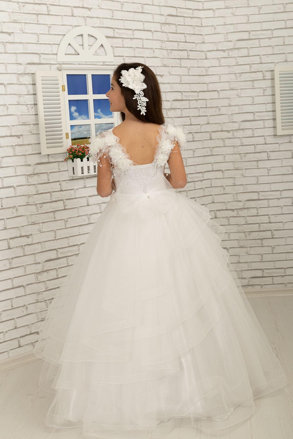 Специален сребърен тюл с детайли от пера на рамото, пухкава вечерна рокля на момиче 633 крем