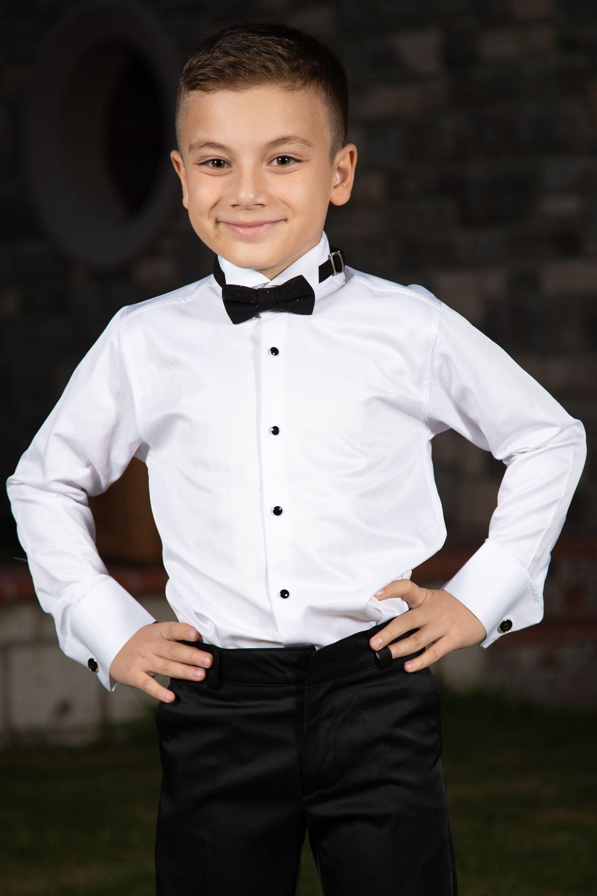Pferdehalsband, schwarzer Manschettenknopf, Boy Shirt 1003 Weiß