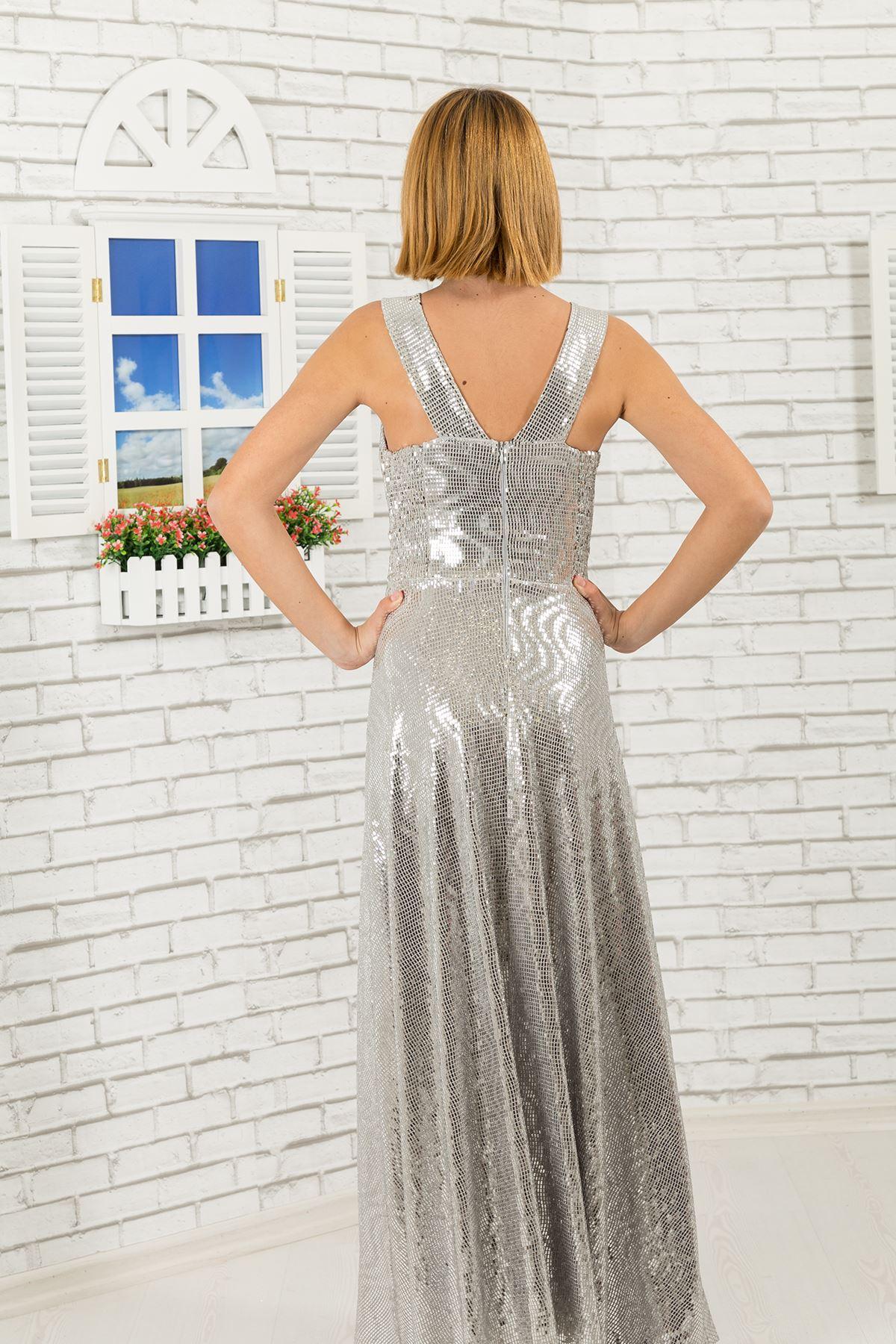 Πούλιες ύφασμα, v-neck κορίτσι βραδινό φόρεμα 475 γκρι