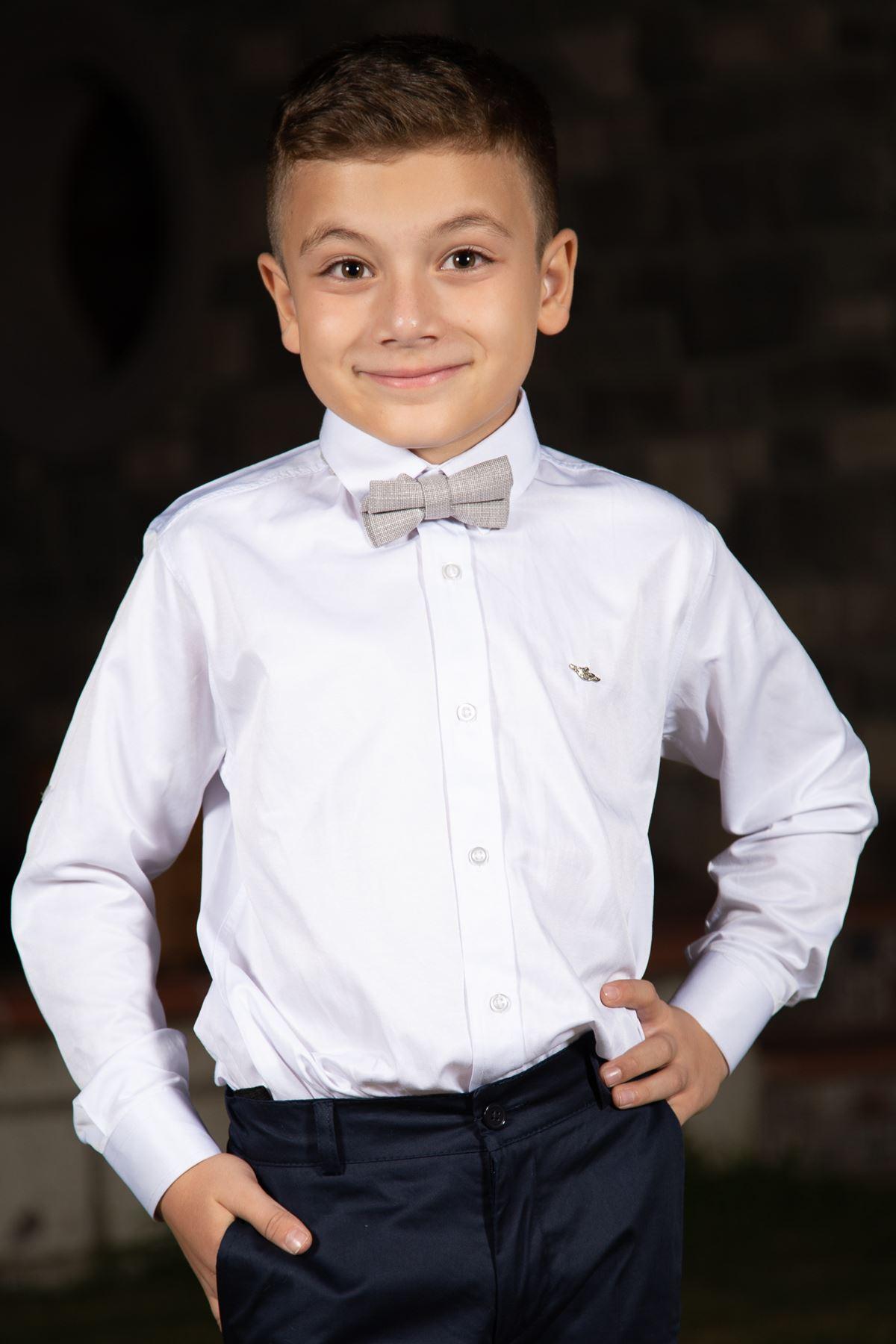 צוואר רגיל, סאטן כותנה, רוזטה מפורטת, חולצת בנים 1007 לבנה