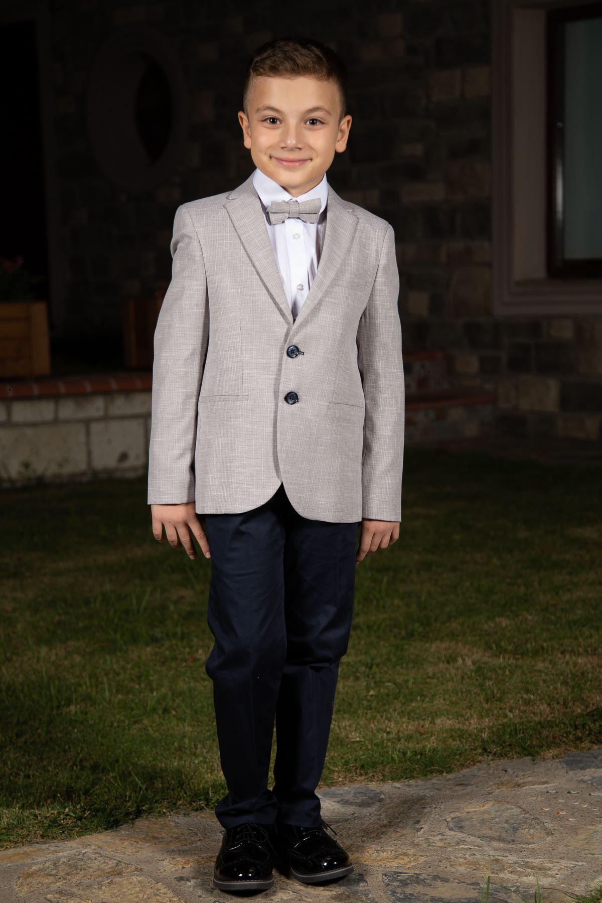 Gray Pattern, Fillet Pocket, Mono Collar, Full Set Boy Suit 145 Beige