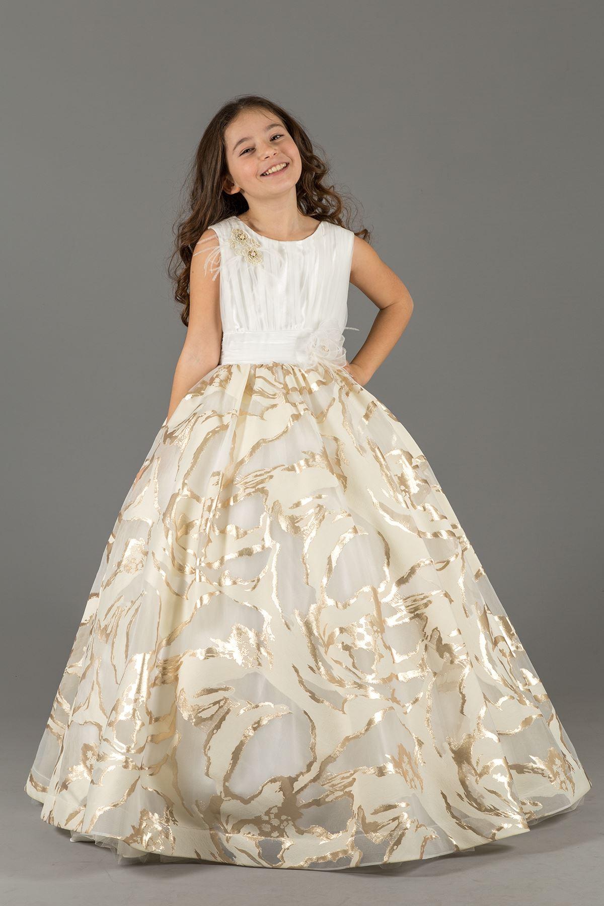 Égő digitális nyomtatási anyag részlet, bolyhos lány estélyi ruha 590 arany