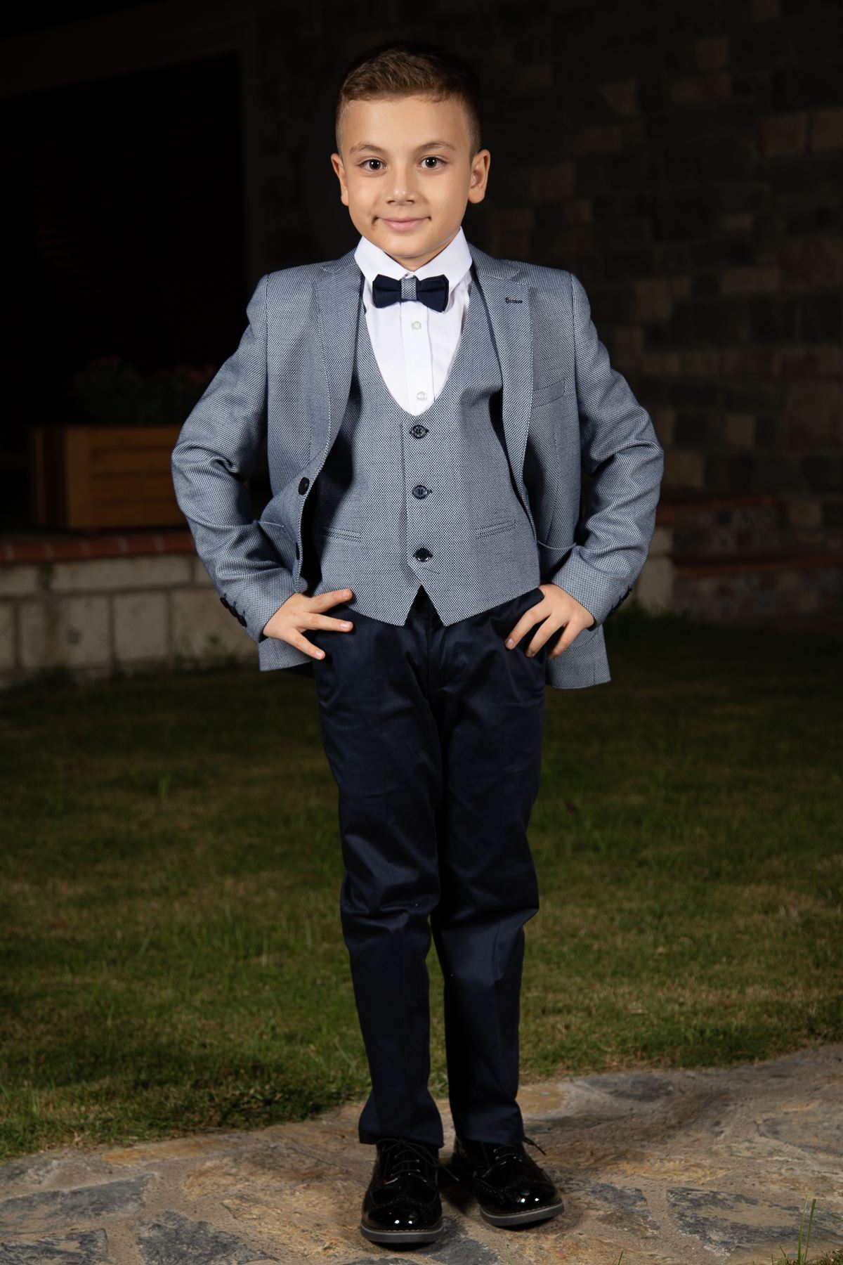 Score Pattern, Bag Pocket, Mono Collar, Full Set Boy Suit 159 Navy