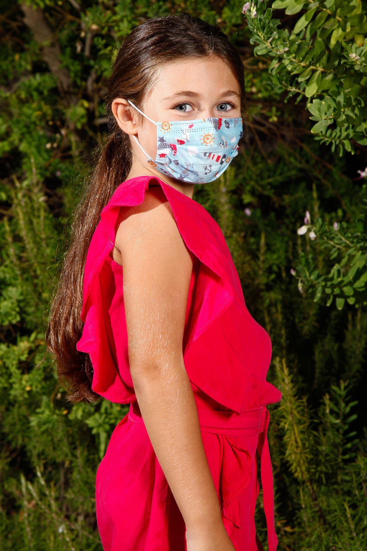 Masque médical élastique jetable pour enfant avec motif marin bleu, paquet de 10