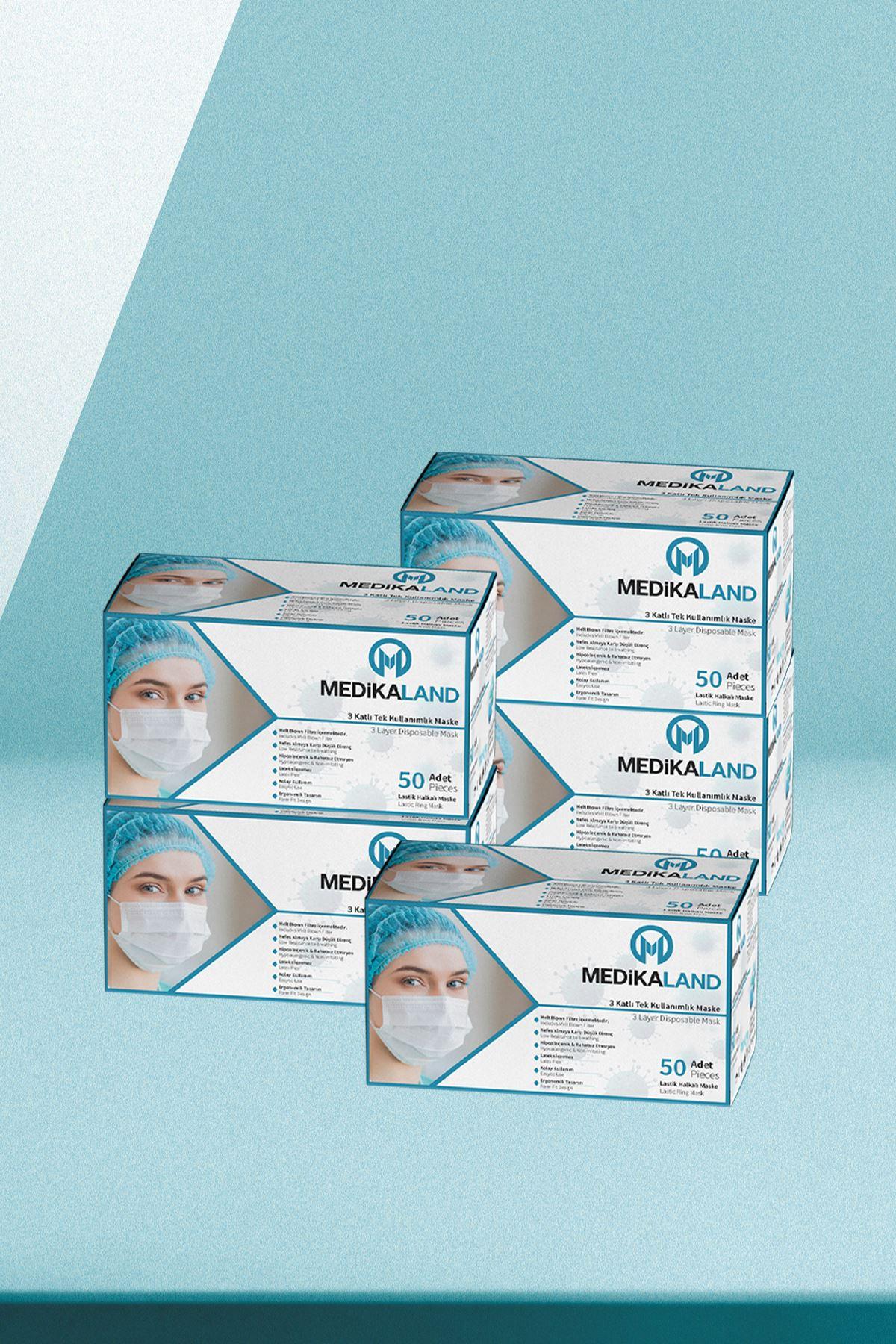 Medikaland 3 Katlı Spunbond Tek Kullanımlık Medikal Maske 5 x 50'li Paket Beyaz